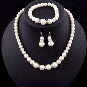 Classic Wedding Bride Pearl Costume Necklace Set